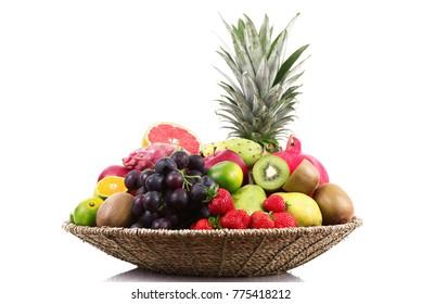 fresh fruit on white background