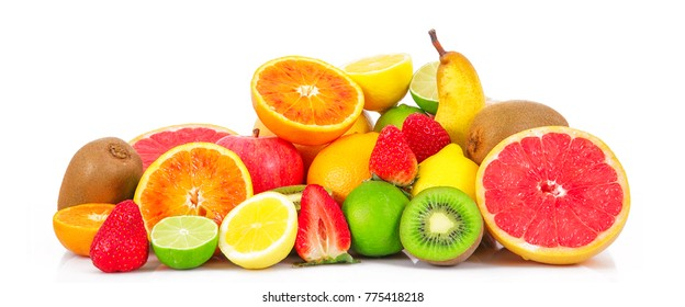 fresh fruit on white background