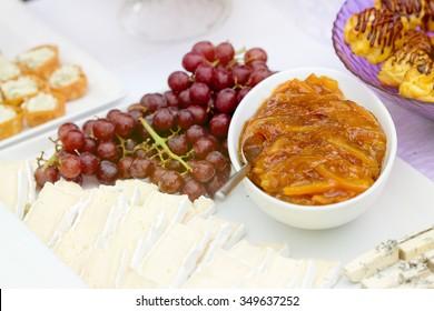 Fresh fruit with orange jam and cake