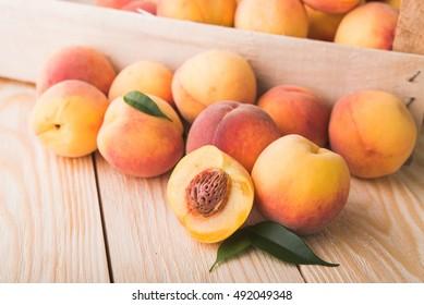 fresh fruit peach on wood background