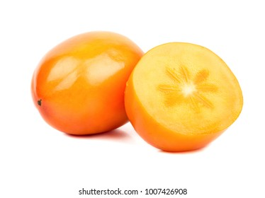 Fresh fruit persimmons with half on white background