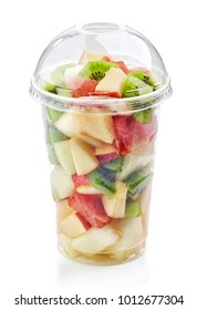 fresh fruit pieces salad in plastic glass isolated on white background