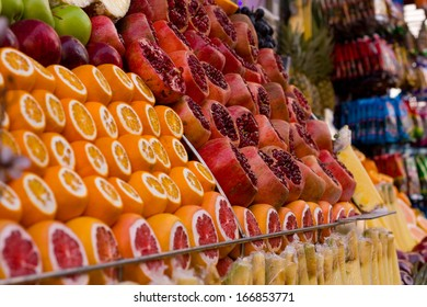 Fresh fruit ready for juice outside a turkish shop.