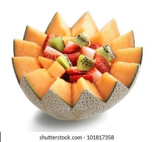 Fresh Fruit Salad in Cantaloupe Bowl