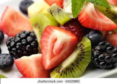 fresh fruit salad close up
