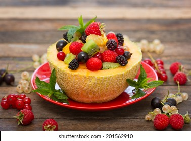 Fresh fruit salad in the melon