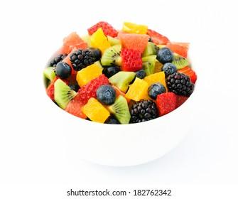 Fresh fruit salad mix in white bowl
