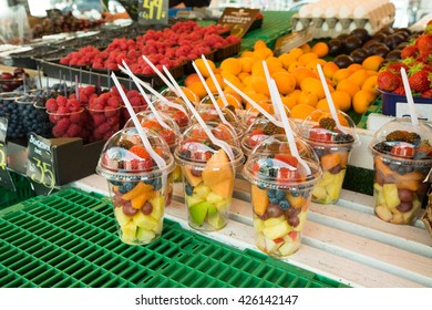 Fresh fruit salad on a market. Fruit Cocktail