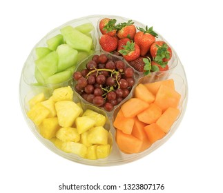 Fresh fruit tray with strawberries, pineapples, grapes, melon and canteloupe
