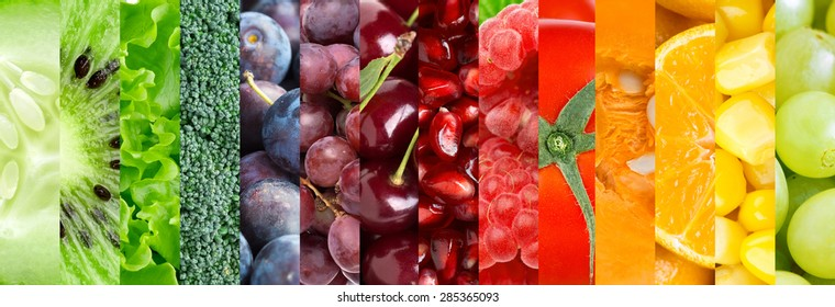 Fresh fruit and vegetable background. Collection with different fruits, berries and vegetables