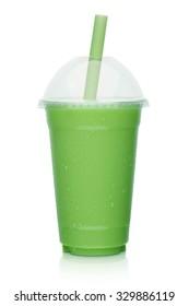 fresh fruit vegetable smoothie, shake isolated on white background
