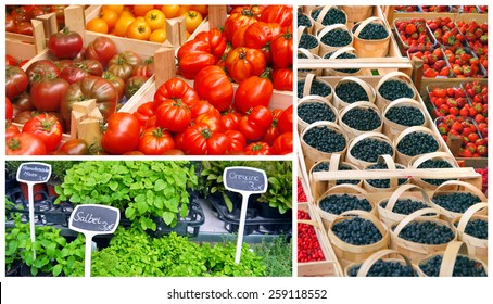 fresh fruit and vegetables on sale at the farmers market