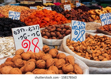 Fresh fruit, vegetables, pastries, and other Jewish food are sold everyday in the outdoor market call the Shuk in Jerusalem.