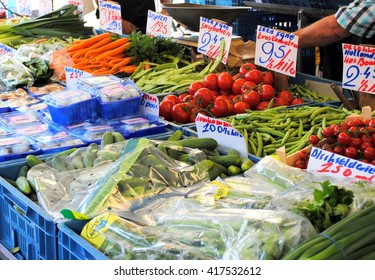 Fresh fruit and vegetables for sale at a market in the Netherlands