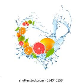 Fresh fruit in water splash, falling grapefruit, Abstract water splash with fresh fruits