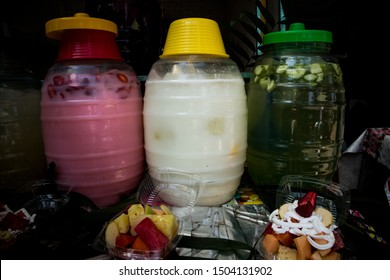 Fresh Fruit Waters (Aguas Frescas) in Jars at Market in Mexico City