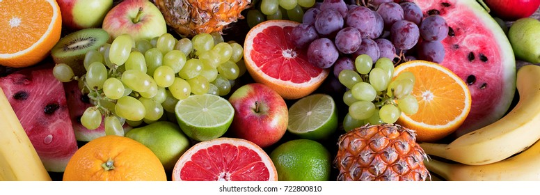 Fresh fruits background. Healthy eating concept. Top view. Panorama