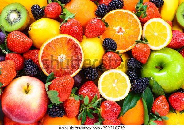 Frische Früchte Hintergrund.Gesundes Essen, Diätkonzept, sauberes Essen.