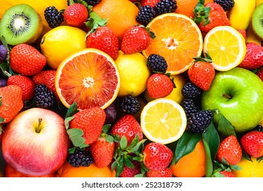 Fresh fruits background.Healthy eating, dieting concept, clean eating.