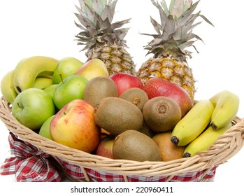 Fresh fruits in a basket, isolated on white