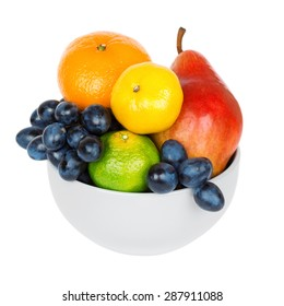 Fresh fruits in bowl on white background