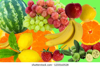 Fresh fruits colorful background. Mix of juicy fruits
