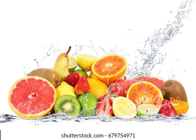 fresh fruits falling in water
