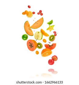 Fresh fruits flying in air. Papaya, apple, orange, kiwi, melon, citrus isolated on white. Fruity vegan tropical mix background. Colorful levitation, falling fly fruit creative concept