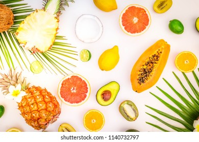 fresh fruits with green leaves food pattern flat lay scene, summer diet background, retro toned