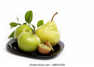 Fresh fruits isolated on a white background.