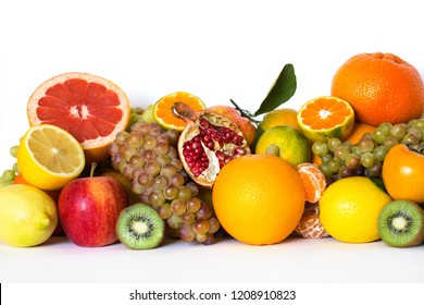 Fresh fruits isolated on a white. Set of different fruits.