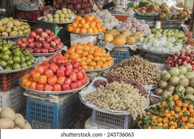 A lot of fresh fruits, at a market in Phu quoc, Vietnam