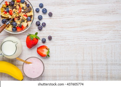 Fresh Fruits with Muesli milk and Yogurt and copy space area.