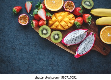 fresh fruits on a black background