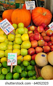 Fresh fruits on display in a farmers market