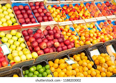 Fresh fruits on display on a market in Greece
