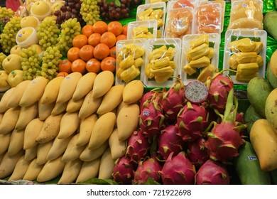 Fresh fruits on the Thai market. Exotic fruits, close up shot