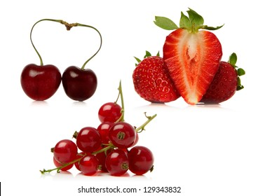 fresh fruits over a white background