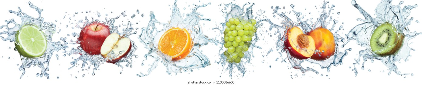 Fresh fruits panorama. Water splash  with dropes. 3d high resolution collage for skinali (glass panel). Isolated white background.