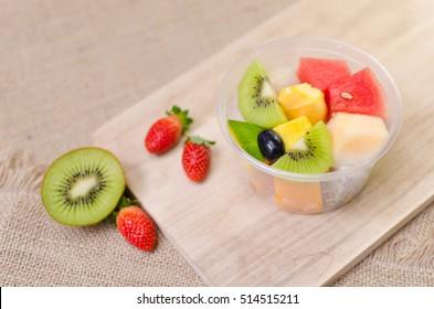 fresh fruits in plastic box