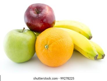 Fresh fruits set over monochrome white background