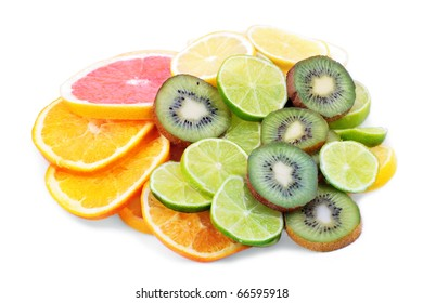 Fresh fruits slices on white background.