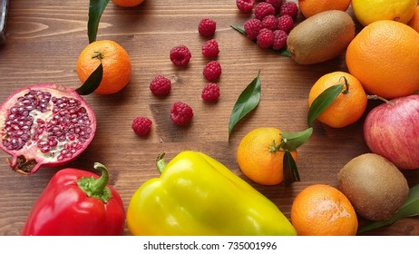 Fresh fruits and vegetable  on the table. Top view.