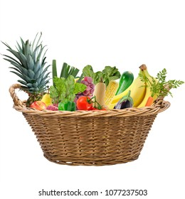 Fresh fruits and vegetables in a basket isolated on white background