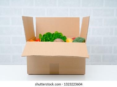 Fresh Fruits and vegetables. Vegetables box.