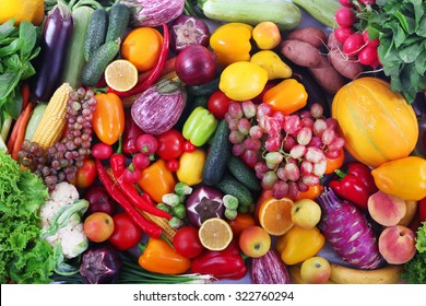Fresh fruits and vegetables closeup