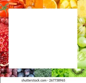 Fresh fruits and vegetables frame. Food concept