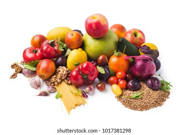 Fresh fruits, vegetables, grains and plants isolated over white, clipping path