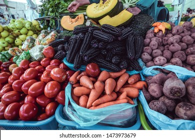 Fresh fruits and vegetables at local Market in Peru