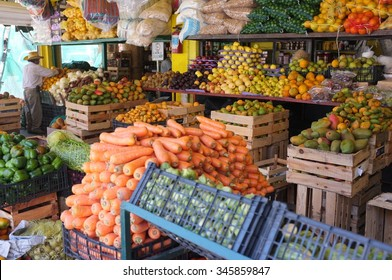 Fresh fruits and vegetables at a local outdoor farmers market in Puerto Vallarta, Mexico